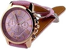 KanLin Reloj de pulsera de Mujer,Marcar los números romanos, Reloj de cuarzo analógico,Faux Leather Band