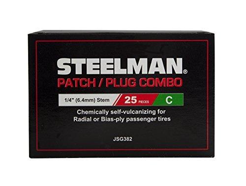 STEELMAN JSG382 1/4-Inch Tire Repair Patch/Plug Combo, Box of 25 by Steelman