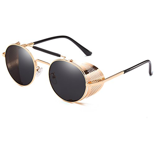 CVOO Luxury Gothic Steam Punk Sunglasses For Men Reflective Yurt Metal Frame