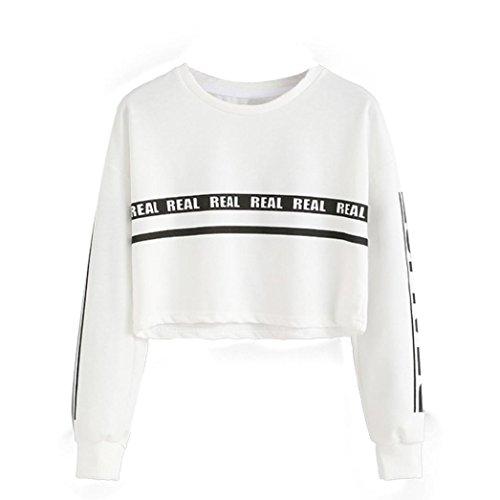 Culater® Lettera Bianco Moda Donna Stampa Crop Felpa camicetta superiore (L)
