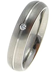 Boccia Unisex-Ring Titan Diamant (0.03 ct) weiß Brillantschliff - 0130-05