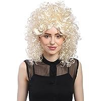 WIG ME UP ® - 91035-ZA613-ZA88 Peluca señoras Carnaval rizado afro 70s 60s barroco peinado colmena torre, rubio claro mezcla