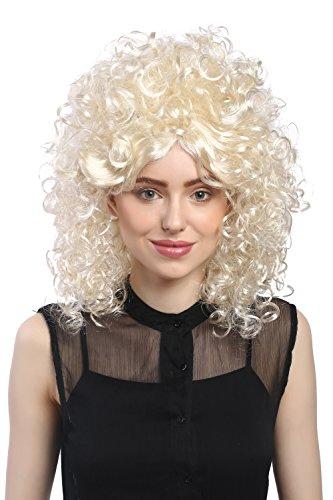 WIG ME UP - 91035-ZA613-ZA88 Perücke Damen Karneval Stark Gelockt Locken Afro 70er 60er Barock Turmfrisur Beehive Hellblond-Mix Blond