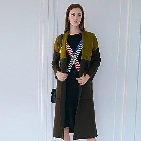 Women 's visone cashmere top a maglia , khaki , m