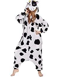 Adulte Unisexe Vache Laitière Anime Costume Cosplay Combinaison Pyjama Outfit Nuit Vêtements onesies Fleece Halloween Costume Soirée de Déguisement