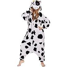 Adulte Cosplay Costume Combinaison Pyjama Outfit Vêtements de Nuit Unisexe Animal Vache Laitière Halloween Déguisement Soirée Onesies