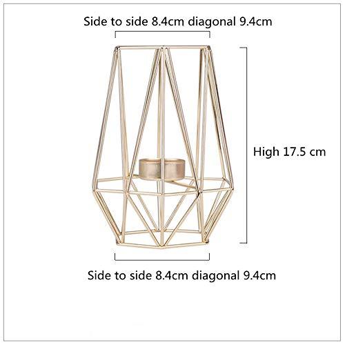 L@ily Style Nordique en Acier Inoxydable Rose Or géométrique Chandelier Maison Mariage décoration minimalisme bougeoir pour Noël,Gold,Big