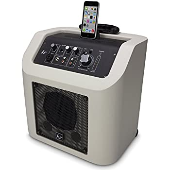 KitSound Kingston Rechargeable Portable Bluetooth Wireless PA Speaker System with Lightning Connector Dock Compatible with iPhone, iPad, iPod, Samsung, Android, Tablets and MP3 Devices- White