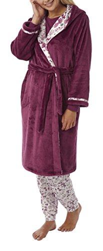 i-Smalls Damen Kapuzen Fleece Robe mit Satin Futter Hausmantel Bademantel (M) Maulbeere