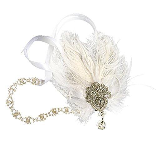 Frcolor Feder Kopfschmuck Flapper Stirnband Gatsby Stirnband der 1920er Jahre für Fancy Dress Party Dress-Up Zubehör, (1920er Kostüm Jahre Haar)