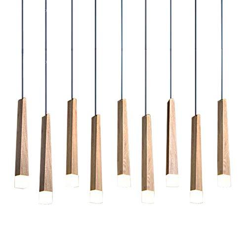 CARYS LED Pendelleuchte Holz Hängeleuchte Höhenverstellbar Modern Hängelampe Esszimmer Deckenleuchte Leuchtmittel Kronleuchter für Wohnzimmer, Esstisch, Schlafzimmer,Weiß 6000K