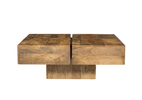 Woodkings Couchtisch Amberley 80x80cm Holz Mango Natural Rustic