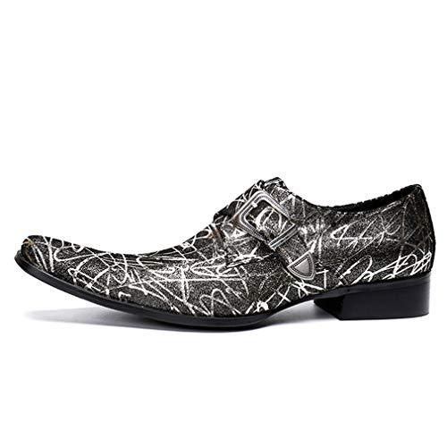 YAN Herren Formelle Schuhe Leder Herbst Loafers & Slip-Ons Mode Spitzen Kleid Schuhe Business Schuhe Hochzeit/Party & Abend (Farbe : EIN, Größe : 38) Plaid Slip-ons
