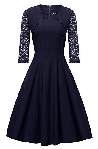 Gigileer Damen Kleider 3/4 Arm mit Spitzen Knielang Abendkleid Minikleid festlich Cocktail Party Navy M