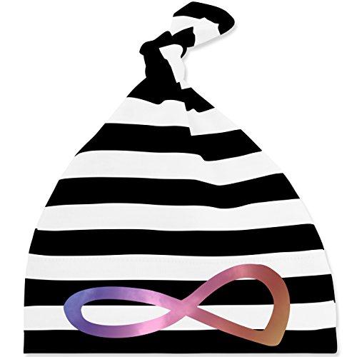 Up to Date Baby - Unendlich Forever Regenbogen - Unisize - Schwarz/Weiß - BZ15S - gestreifte Baby Mütze mit Knoten / Bommel für Jungen und Mädchen