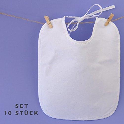 Lätzchen bemalbar | 10 Stück Set weiß | 100% Baumwolle mit wasserabweisender Rückseite | Kinder & Erwachsene | kreatives premium Geschenk Geburt, Babyparty, Baby Shower Party | Marke ZoeZoo