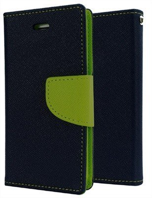 J.N. Mercury Fancy Diary Card Wallet Flip Case Back Cover For Micromax Canvas 2 Colors A120 - Blue Green