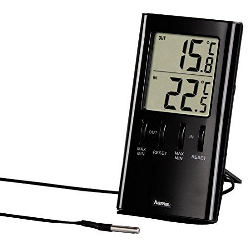 Hama LCD Thermometer (mit Kabel-Außensensor T-350, digitale Anzeige, Innen- und Außentemperatur, Kabellänge 1,50, Kühlschrankthermometer) schwarz