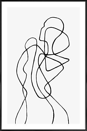 """JUNIQE® Bild mit Rahmen 40x60cm Schwarz & Weiß Menschen - Design """"Figuratone"""" (Format: Hoch) - Wandbilder, Gerahmte Bilder & Gerahmte Poster von unabhängigen Künstlern - Abstrakte und moderne Kunst - entworfen von Peytil"""