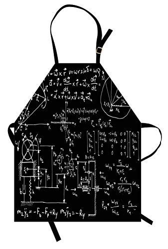Sucht Formel (Physik-Schürze, mechanische Skizzen und Formeln auf Tafel, die Hintergrund-Druck, Unisex-Küchenschürze mit verstellbarem Hals für das Kochen von Backen-Gartenarbeit, Holzkohle, Grau und Weiß sucht)