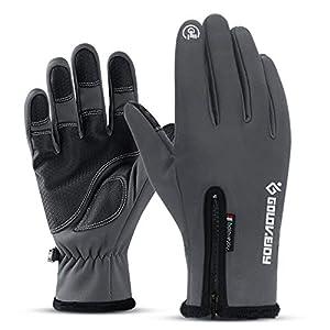 Dasongff Herren Handschuhe Fahrradhandschuhe Touchscreen-Handschuhe Wasserdicht & Winddicht Wärmehandschuhe rutschfest Warme Winterhandschuhe mit Reißverschluss Outdoor