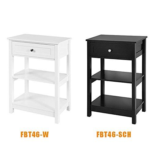 SoBuy® FBT46-W Beistelltisch Nachttisch Couchtisch in weiß mit einer Schublade und 2 Ablagen BHT ca: 45x68x30cm - 7