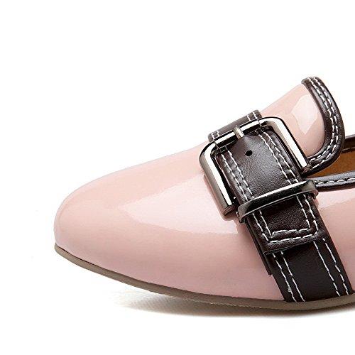 AgooLar Damen Ziehen Auf Rund Zehe Niedriger Absatz Gemischte Farbe Pumps Schuhe Pink