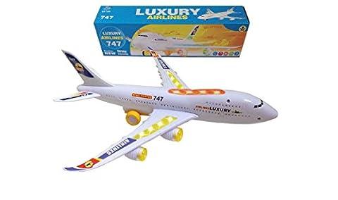 ToyZe® Bump and Go Action, Boeing 747 Flugzeug mit Lichtern und Geräuschen Flugzeug Spielzeug gross 35 cm Spielflugzeug Geschenkidee Kinder 3 Jahre Jumbo