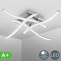 Plafoniera LED da soffitto, lampada moderna con bracci luminosi per l'illuminazione da interno, 4 luci calde, corpo metallo color nickel opaco, LED integrati 4x3,4W 4x350Lm 230V IP20