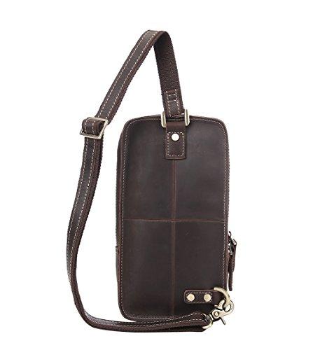 Genda 2Archer Ehrfürchtige Umhängetasche Leder Crossbody Brusttasche (Dunkel Khaki) Braun