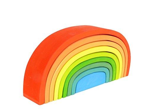 Buntes Bogenhaus | Regenbogen-Haus 6061 | kreative Spielmöglichkeiten | massives Holz | handgefertigt, robust und stabil | Schulung der Motorik |