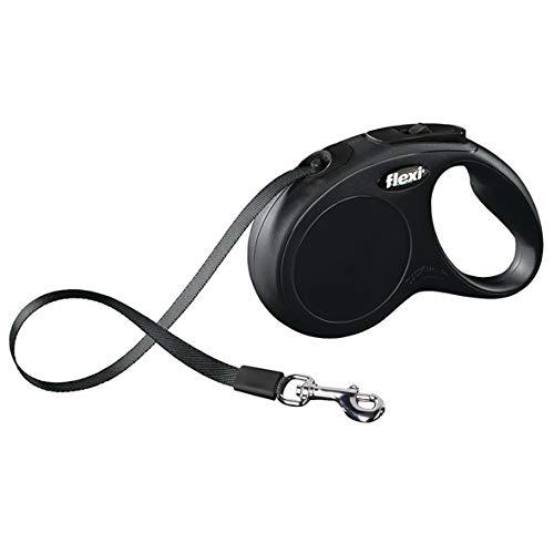 flexi Roll-Leine New Classic S Gurt 5 m schwarz für Hunde bis max. 15 kg