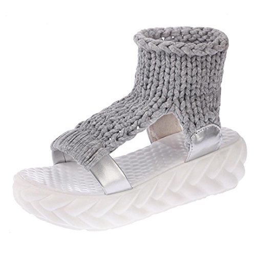 FNKDOR Damen Sandalen Plateau Schuhe Gestrickte Damenschuhe Sandaletten(38,Grau)
