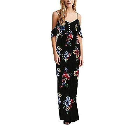 LSAltd Frauen V-Ausschnitt Blumen Print Rock, Damen Ärmellos Camis Party Lange Kleid (M, Schwarz)