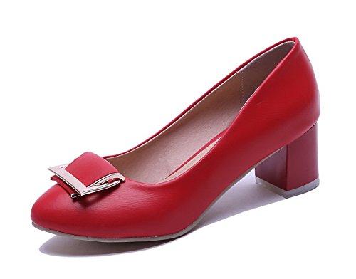 VogueZone009 Donna Tirare Punta Tonda Tacco Medio Luccichio Chiodato Ballerine Rosso
