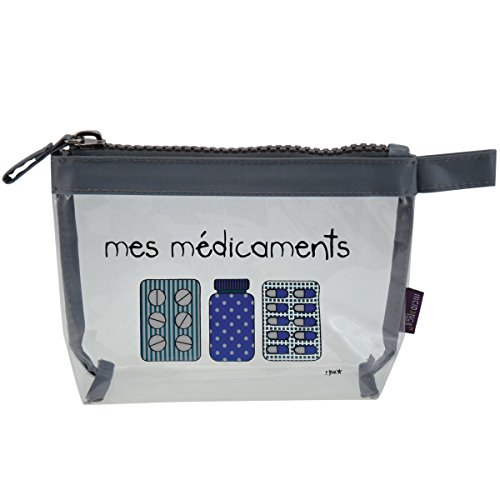 Incidence Paris 62154 Trousse à Pharmacie Krystal Mes Médicaments Transparent et Gris Fermeture Zip PVC et Nylon, 19 cm, Transparent