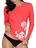 BesserBay Damen Bademode Rash Guard UV Shirts Langarm Slim-Fit Surf Shirt Schwimmen Tankini Badeshirts UPF 50+, 36, Wassermelone Rot