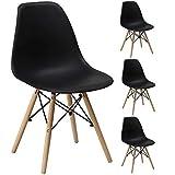 Gr8 Home 4 Retro Eames Inspiriert Sessel Set Plastik Holz Modern Büro Esszimmer Wohnzimmer Tisch Lounge Panton Eiffel Sitz Vintage Hohe Rückenlehne Stuhl - Schwarz