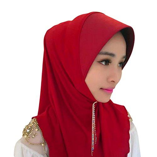 Haodasi Muslim Femmes Gland Épissure Chapeau Couvercle de tête Islamic Écharpe Coton Châle Hijab red