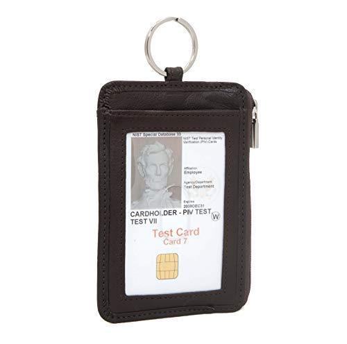 RFID Geldbörse doppelt ID Schlüssel Ring Mini-Wallet Schutzhülle für Anmeldeinformationen-RFID-blockierender Leder Brieftaschen Small braun -