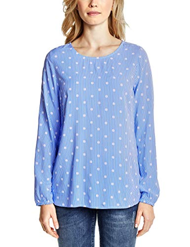 Cecil Damen Streifen Bluse mit Punkten Cornflower Blue L