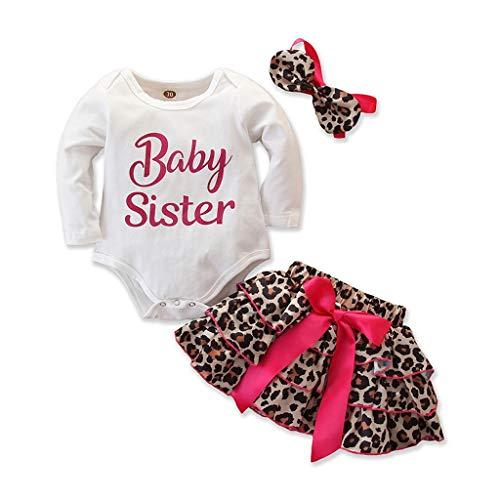 i-uend Baby Kleidung Baby Langarm Top Overall Neugeborene Kinder Mädchen Outfits Kleidung Strampler Bodysuit + Kleid Winter + Stirnband 3 Stück Outfits Buchstabe Leopard-Rock
