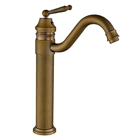 GFFO La rotation du tout cuivre mélange robinet de lavabo robinet antique trou européen robinet d'eau froide plate-forme rétro robinet d'évier lavabo surélevé, 35 mm, le cuivre