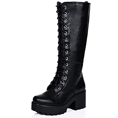 Block Heel Cleated Sole Lace Up Platform Knee High Boots Black Synthetic Leather UK 4