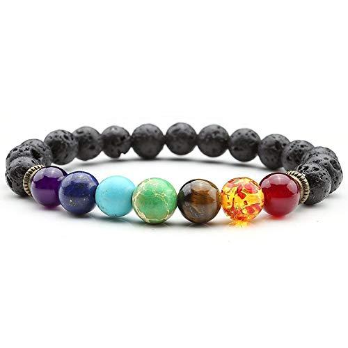 Lavastein Armband 7 Chakra Energiearmband Armreif Yoga Armband Zen Buddhismus