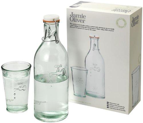 Brocca caraffa con bicchiere in vetro riciclato firmato Jamie oliver