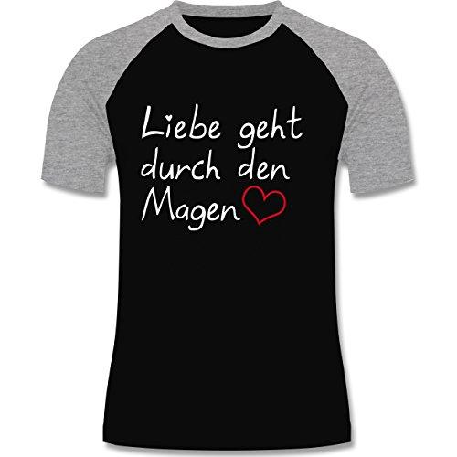 Küche - Liebe geht durch den Magen - zweifarbiges Baseballshirt für Männer Schwarz/Grau Meliert