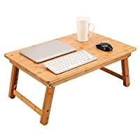 Large Size Lap Desk NNEWVANTE Foldable Coffee Table,Laptop/TV/Bed Tray 100% Bamboo Adjustable Breakfast Serving Tray Gaming Writing Support up to 18in Laptop, 65x45cm