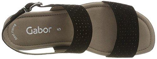 Gabor Damen Fashion Offene Sandalen mit Keilabsatz Schwarz (schwarz 17)