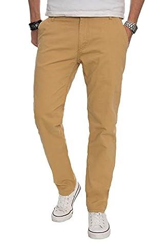 A. Salvarini Herren Designer Chino Stoff Hose Chinohose Regular Fit AS016 [AS016 - Beige - W33 L32]